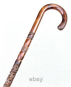 Vintage Antique Classic Crook Handle Carved Hardwood Shaft Walking Stick Cane