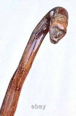 Vintage Antique Early 1800 Primitive Folk Art Carved Wood Walking Stick Cane