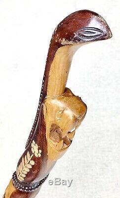 Vintage Antique Estate Folk Art Carved Natural Wood Bahamas Walking Stick Cane