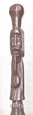 Vintage Antique Estate Folk Art Carved Wood Swagger Knob Walking Stick Cane Old