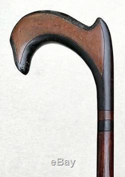 Vintage Antique Estate Folk Art Carved Wood With Inserts Walking Stick Cane Old