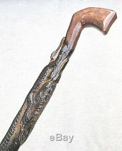 Vintage Antique Folk Art Carved Wood 6 Crocodile Swagger Knob Walking Stick Cane