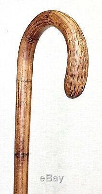 Vintage Antique Folk Art Carved Wood Crook Handle Walking Stick Cane