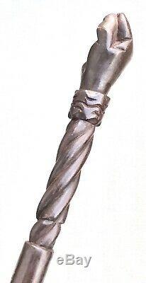 Vintage Antique Folk Art Carved Wood Fist Fat Swagger Knob Walking Stick Cane