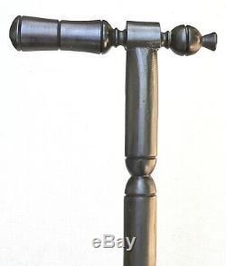 Vintage Antique Folk Art Carved Wood Gadget Hammer Walking Stick Cane