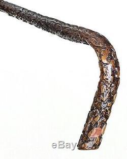 Vintage Antique Folk Art Carved Wood L-Shape Handle Walking Stick Cane Old