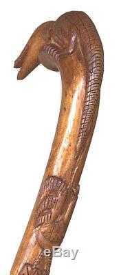 Vintage Antique Folk Art Carved Wood Lizard Rooster Walking Stick Cane Old