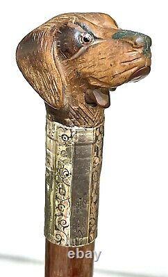 Vintage Antique Gadget Gloves Holder Carved Wood Dog Swagger Walking Stick Cane