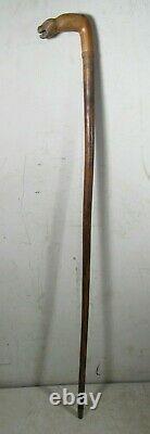 Vintage/Antique Hand Carved 1 Of Kind Folk Art Walking Stick 36 Tiger Demon Dog