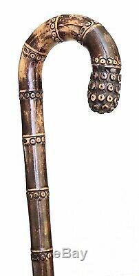 Vintage Antique Japanese Carved Bamboo Crook Handle Walking Stick Cane Old 32L