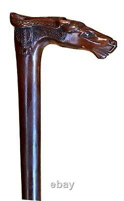 Vintage Antique Kepkypa Corfu Greece Carved Wood Horse Head Walking Stick Cane