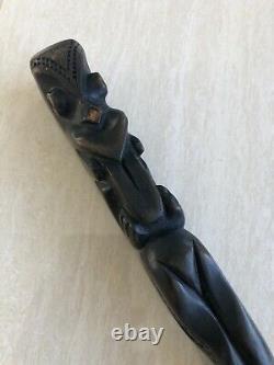 Vintage Antique Maori Carved Wooden Walking Stick Cane Tiki God Polynesian Art