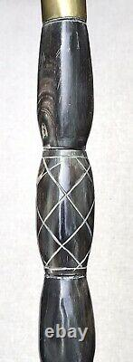 Vintage Antique Massive Carved Horn Swagger Knob Walking Stick Cane Crook Handle