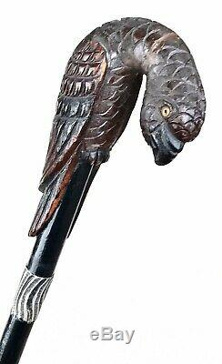 Vintage Antique Parrot Carved Wood Sterling Silver Swagger Walking Stick Cane