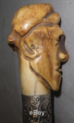 Vintage/Antique Walking Stick/Dress Cane With Carved Face/Head Top 88cm