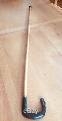 Vintage Black Rams Horn Thistle shaped carved handle Shepherds Crook 51 in long