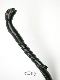 Vintage Carved BLACK CORAL Walking Stick Made In & From Jamaica