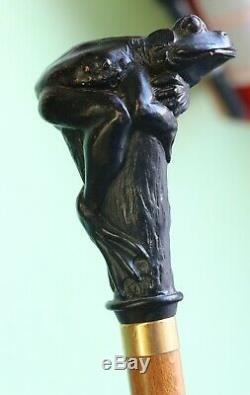 Vintage Carved Dark Wood Handled Frog Walking Stick