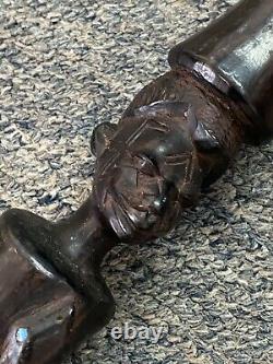 Vintage Carved Ebony Face And Snake Walking Stick Cane 36