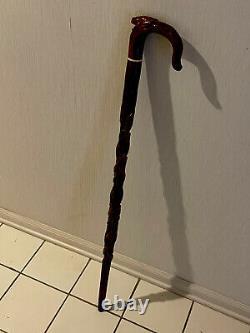 Vintage Carved Figural Frog Cane Walking Stick