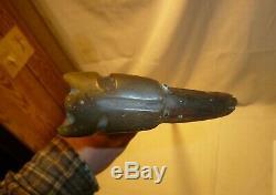 Vintage Carved Horn or Antler Dog Head Walking Stick Cane