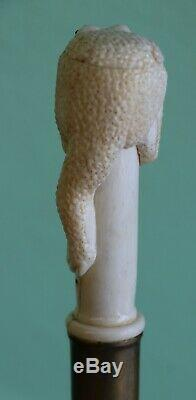 Vintage Carved White Handle Frog Walking Stick
