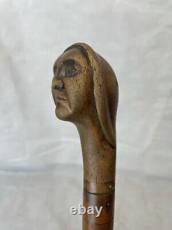 Vintage Folk Art Walking Stick Carved With A Face