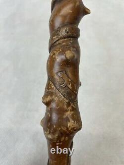 Vintage Folk Art Walking Stick Carved With Dogs, Hares, Snakes. T Collis 1927