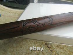 Vintage Gadget Carved Wood Pool Cue Walking Stick Cane Brass Ends 33 Long Cl