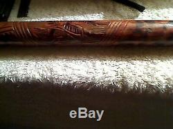 Vintage Hand Carved Cane Matador Bull Walking Stick-35 inches long