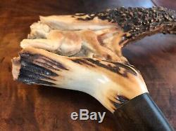 Vintage Hand Carved Horn Antler Hunting Dogs Wild Boar Walking Stick Cane 36