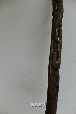 Vintage Hand Carved Reptile Alligators Totem Walking Stick Cane 32