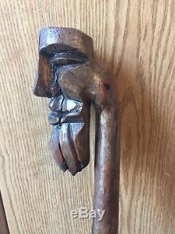 Vintage Hand Carved Single Piece Wood Walking Stick Cane Custom Bearded Head
