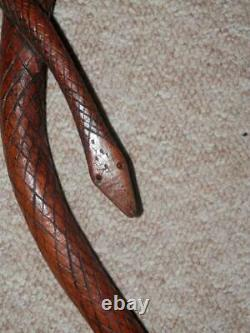 Vintage Hand-Carved Twisted Snake Walking Stick/Cane With Glass Eyes 86cm