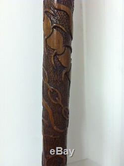 Vintage Hand Carved Walking Stick- A Work Of Art- 36- Very Sturdy