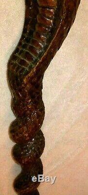 Vintage Hand Carved Wood Cane Walking Stick / King Cobra Solid Full Wood Cane