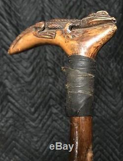 Vintage Hand Carved Wooden Alligator Crocodile Walking Stick Staff Cane