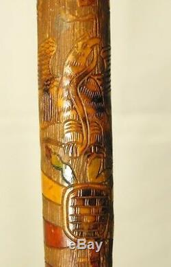 Vintage Mexican Coat Of Arms Carved Wood Walking Stick Eagle Clutch Snake Cane