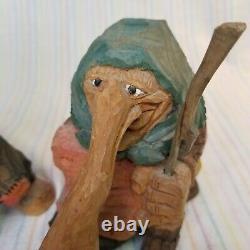 Vintage Norwegian Hand Carved Wood Troll Figures Walking Sticks Henning Raanaa