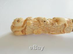 Vintage Oriental Bone Cat Mouse Rat Hand Carved Walking Stick Ebony