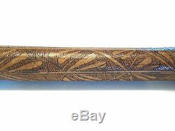 Vintage Scratch Carved & Stained Bamboo Walking Stick Signed Japan 20th C