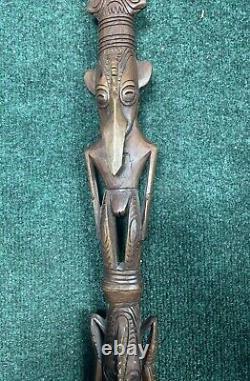 Vintage Staff Walking Stick Cane, Hand Carved Ceremonial Staff African