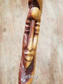 Vintage Two Tone Carved African Walking Stick Man & Snake Cane 42 1/2 Folk Art