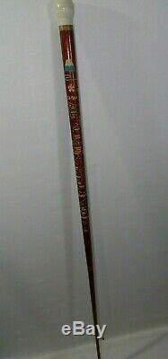 Vintage WWII Era Japan Carved 2 Piece Pool Cue Walking Stick Folk Art