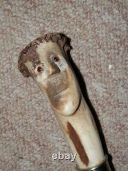 Vintage Walking Stick/Cane Hand-Carved Antler Mans Head With Glass Eyes 89.5cm