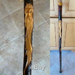 Vintage Walking Stick Fantasy Wizard Carved Wood Cane Amazing Grain Character