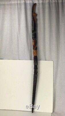 Vintage Wood Hand Carved Cane Walking Stick Snake Serpent Warrior 42