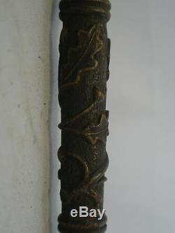 Vintage/antique Dress Cane- Carved Oak Leaves And Acorns-'m. T