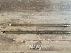 Vintage carved wooden walking stick with hidden billiard or snooker cue
