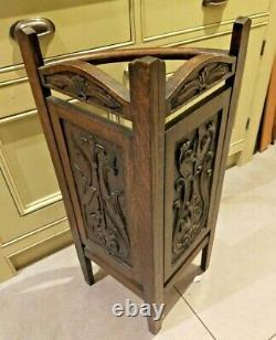 Vintage unusual oak carved quadrant umbrella / walking stick stand